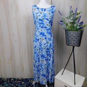 Vintage Scalloped Hem Floral Blue Maxi Dress
